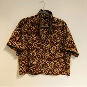 MONKI Leopard Print Short Sleeve Shirt
